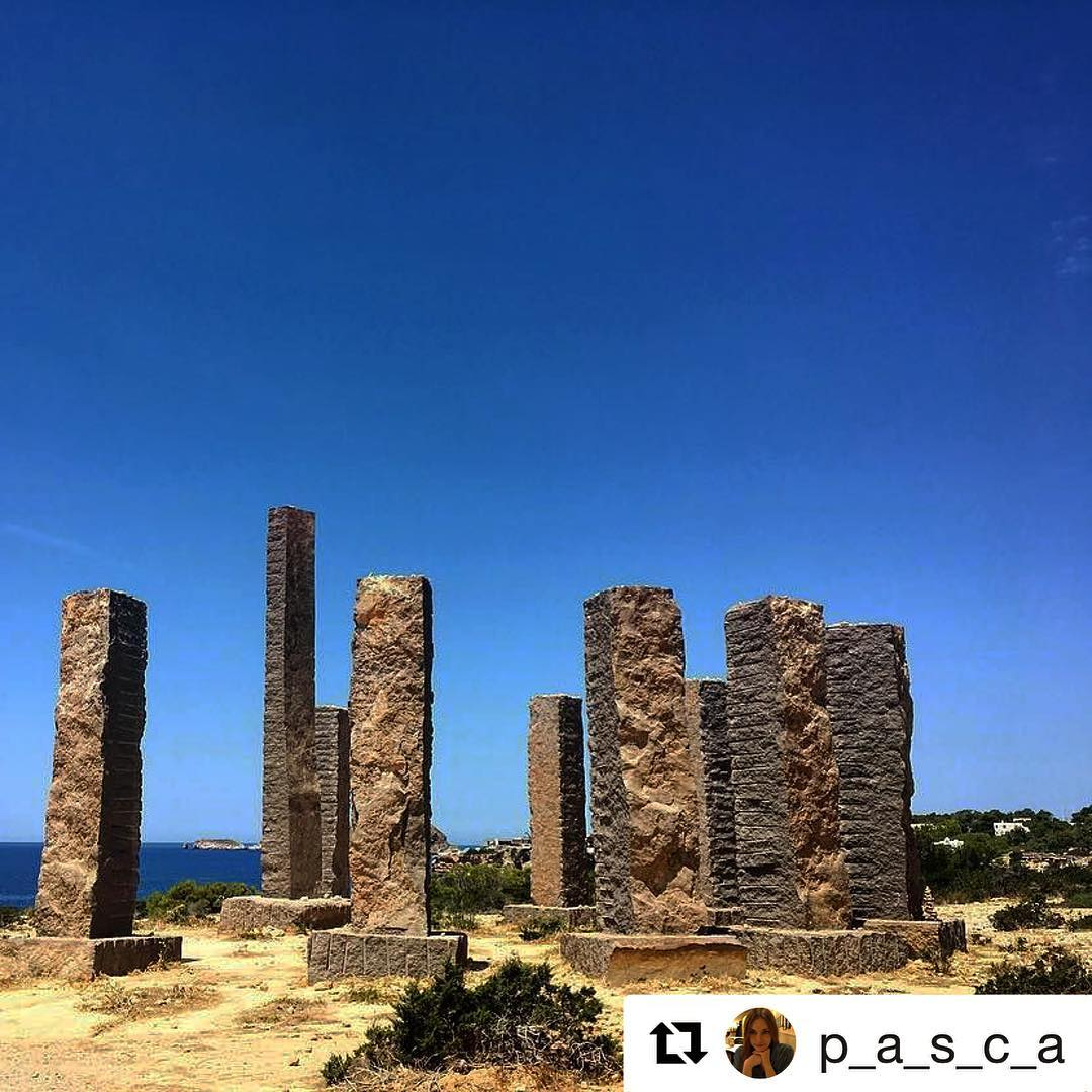 Magic place next to Cala Codolar! 🌞 Thanks to @p_a_s_c_a for the great shot! #ibiza #repost #calacodolar #stonehenge #art #beautiful #sky #gold #blue #andrewrogers #ibiza2017 #picoftheday #baleares #monumentalspain #ibz #spain #ibizadiary, Cala Codolar