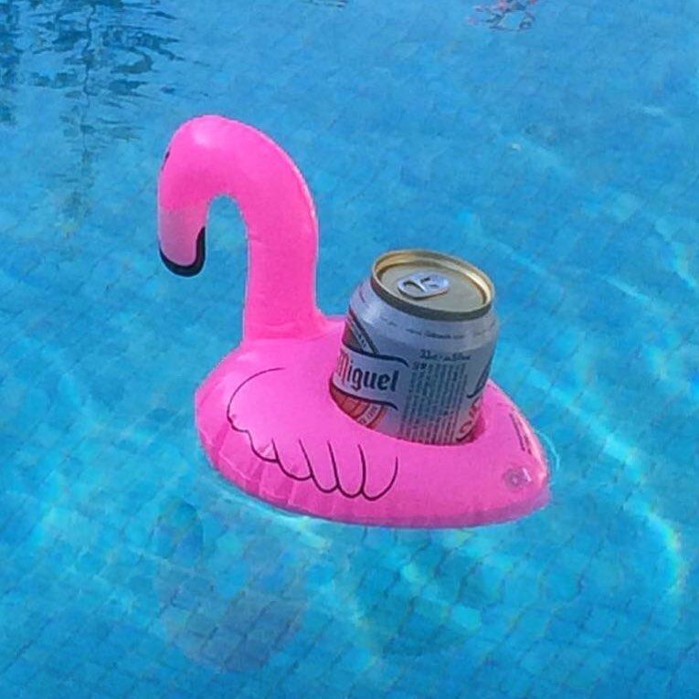Pool guy with cool drink 🍺 #flamingo #inflatableflamingo #beerflamingo #poolflamingo #poolfun #santagusti #ibiza #ibizabeer #beerlovers #sanmiguel #ibizadiary #ibz #ibiza2017 #summerfeeling #summerbeer #flamingoparty #pinkflamingo #pink, Sant Josep de sa Talaia