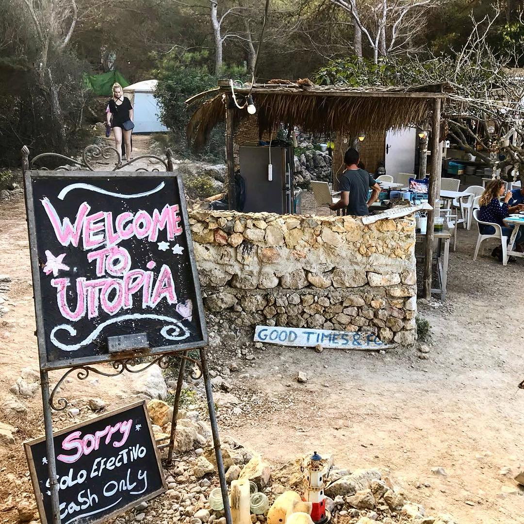 Welcome to one of Ibizas hidden secrets in the north: Chiringuito Utopia ☮️ #utopia #ibiza #secret #chiringuito #beachbar #north #peace #picoftheday #ibiza2017 #baleares #españa #food #bar #drinks #goodlife #instagood #instatravel #ibizadiary #utopiaibiza, Port de Sant Miguel