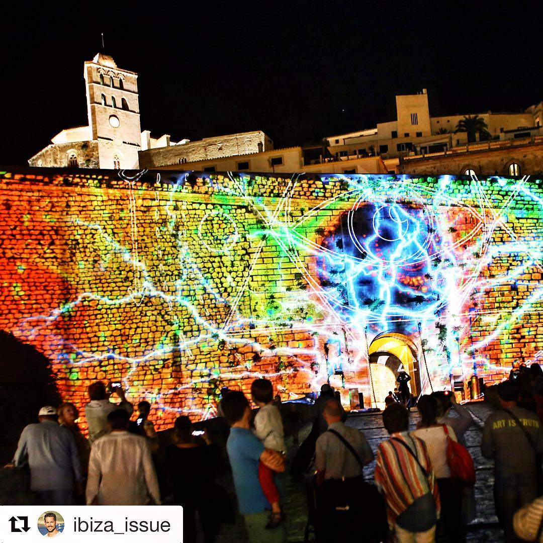 Last weekend Dalt Vila was full of lights and colours at the Ibiza Light Festival 💈🎑 Thanks to @ibiza_issue for the great shot 👍 #ibiza #daltvila #art #mapping #light #colours #festival #night #ibiza2017 #instaart #spain #repost #world #picoftheday #ibizagram #travelspain #ibizadiary #ibizalightfestival, Dalt Vila, Ibiza